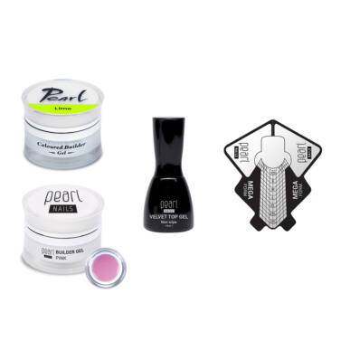 Kit babyboomer   Gel de construcție colorat lime + Velvet Top