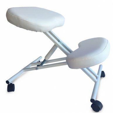 Scaun pedichiură ergonomic, poziție în genunchi, alb III.